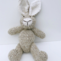 Soft Light Tan/Cream Hand Knitted Bunny Rabbit with Cute Big Ears