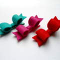 Mini Felt bow trio - Magenta, Red and Teal Green clips