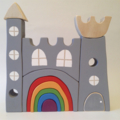 Hand painted stacking  Wooden Castle with rainbow door. (12 Piece)
