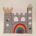 Hand painted stacking  Wooden Castle with rainbow door. (12 Piece)