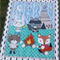 Kid's bright quilt featuring Woodland animals camping