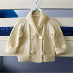 Handknit double breasted cream baby jacket, shawl collar, boy / girl 12-18 month