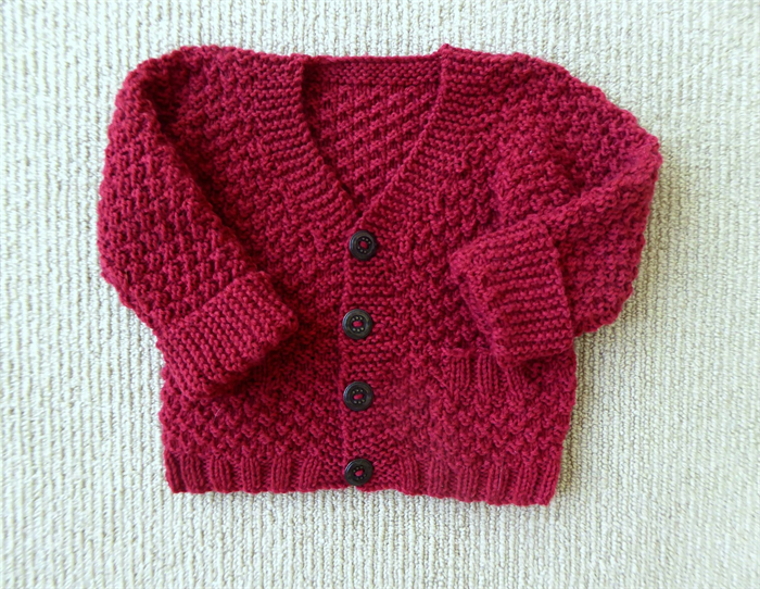Red baby boy sweater, handknit baby clothing, handknitted baby gift, 3 months