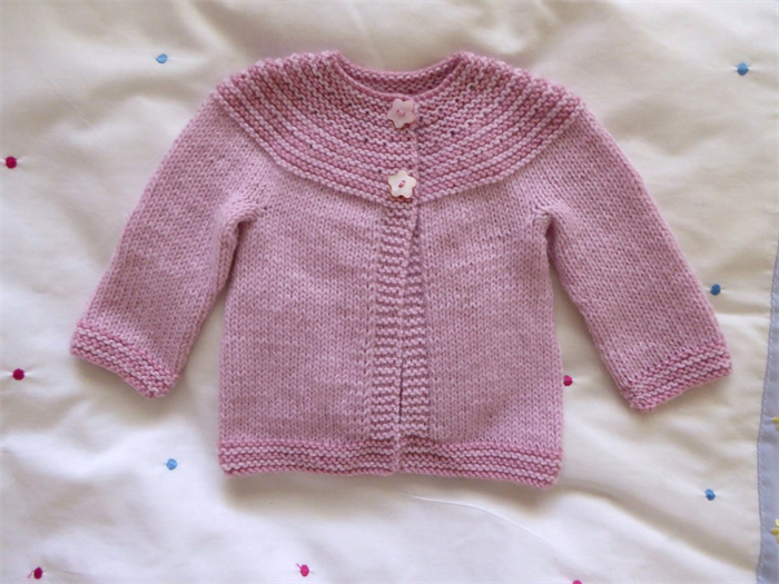 c641ae4ec Hand knitted pretty pink striped baby girl cardigan