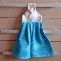 Owl fabric topped aqua blue hanging hand towel