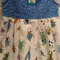 Girls sleeveless 'bug' dress with pleated skirt and blue bodice, size 2 - 3 yrs