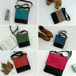 Red, green, blue, orange, brown, or aqua vegan faux leather vinyl messenger bag