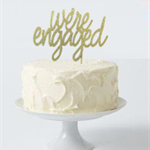Cake Topper - we're engaged - GOLD GLITTER 2 lines only