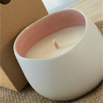 Pink Porcelain Hand Crafted  Soy Candle - Champagne & Strawberries