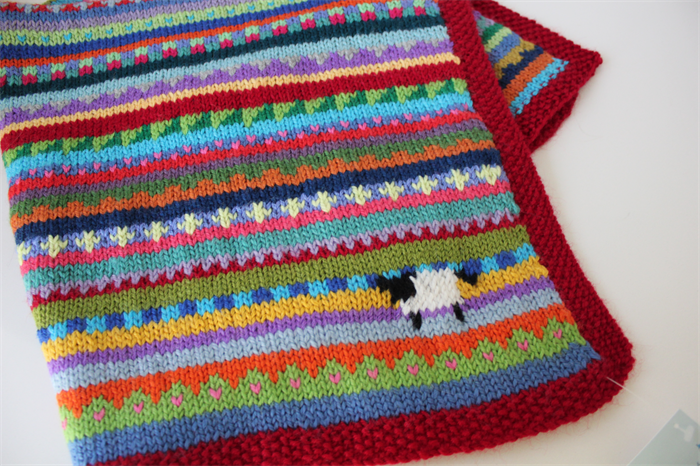 Boho Red Quot Sheep Quot Blanket Hand Knitted In Pure Wool