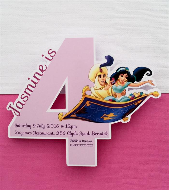 Personalised Princess Jasmine Aladdin Party Invitation Cutouts 4 Year Old 10pk