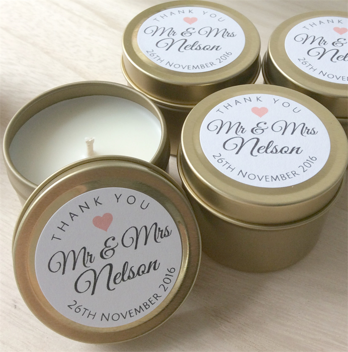 Personalised Wedding Favours 100 X Soy Candle Tins