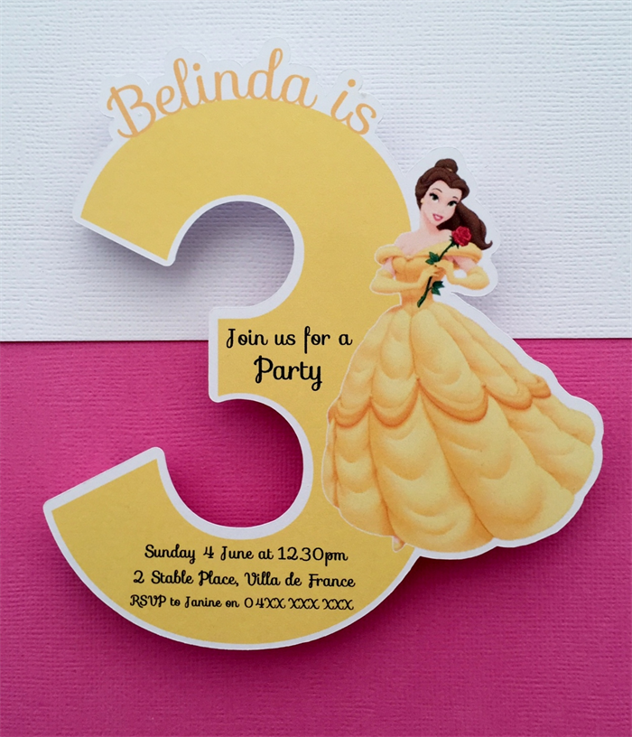 Personalised Disney Princess Belle Party Invitation Cutouts 3 Year Old 10pk
