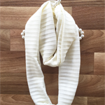 Womens handmade knit infinity scarf | pale cream | super soft knit fabric