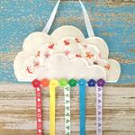 Butterfly, cloud, rainbow, hair clips holder, felt, pastel, cream, organiser