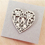 Kraft wooden laser cut heart pearls love engagement him her fiancé card