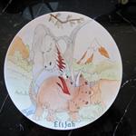 Dinosaur 23cm diameter bone china plate for Petie