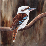 Laughing Kookaburra, Bird Art Print, Gift, Wall Art, Wildlife 6 x 6 inch print