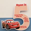 Personalised Lightning McQueen/Cars Party Invitation Cutouts, 5 year old- 10pk