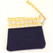 Denim and yellow, white and blue pin wheel wristlet with black patterned lining