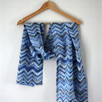 Blue Zig Zag Cotton Lawn Scarf