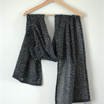 Black Spot Cotton Voile Scarf