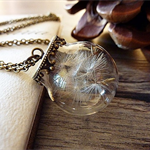 Dandelion wish necklace, botanical necklace