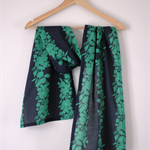 Navy & Green Floral Cotton Voile Scarf