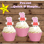 12x  Peppa Pig only EDIBLE wafer stand up toppers PRE-CUT