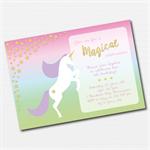 Pastel Rainbow Unicorn Printable Custom Invitation