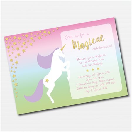 Pastel Rainbow Unicorn Printable Custom Invitation