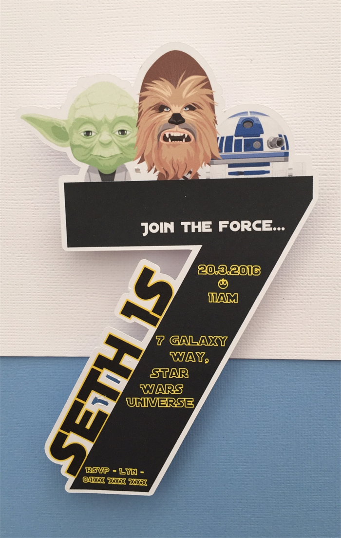 Personalised Star Wars Birthday Party Invitation Cutouts 7 Year Old 10pk