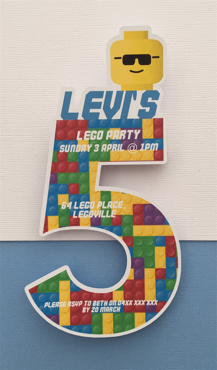 Personalised Lego Birthday Party Invitation Cutouts 5 Year Old 10pk