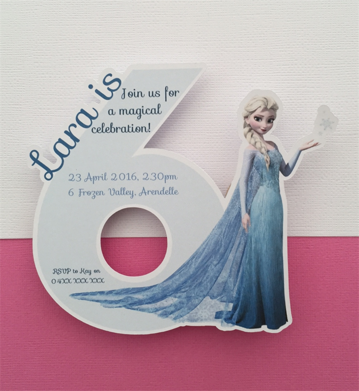 Personalised Princess Elsa Frozen Party Invitation Cutouts 6 Year Old 10pk
