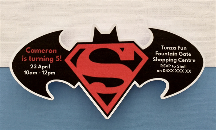 Personalised Batman vs Superman Birthday Party Invitation Cutouts – Superman Birthday Party Invitations
