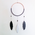 Large (25cm) Feather Wall Hanging - Grey, White & Black