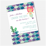 Under The Sea Mermaid Printable Custom Invitation