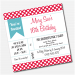 Vintage Retro 1950s Polka Dot Printable Custom Invitation