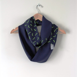 Navy & Green Dragonfly Infinity Scarf