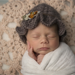 Newborn Ruffle Hat / Mohair and Cashmere Hat / Newborn Photography Prop / Beige