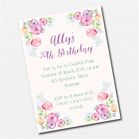 Watercolour Floral Printable Custom Invitation