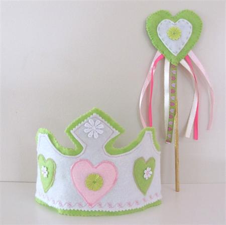 Girls Fairy Tiara and Wand. lime, pink, Birthday felt crown