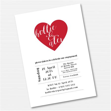 Heart Engagement Printable Custom Invitation