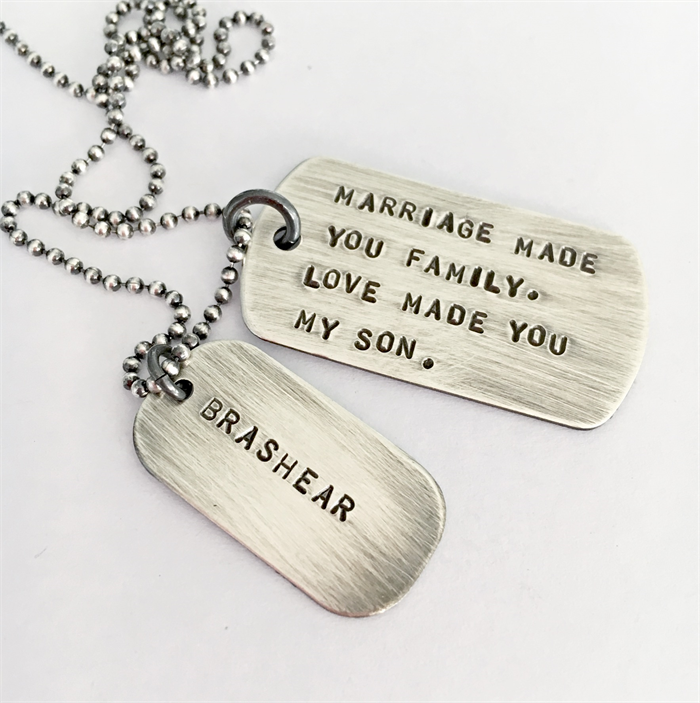Wedding Day Son in Law Gift Marriage Gift Mens Dog Tag Necklace Personalised | Sevenblueberries | madeit.com.au  sc 1 st  Madeit & Wedding Day Son in Law Gift Marriage Gift Mens Dog Tag Necklace ...