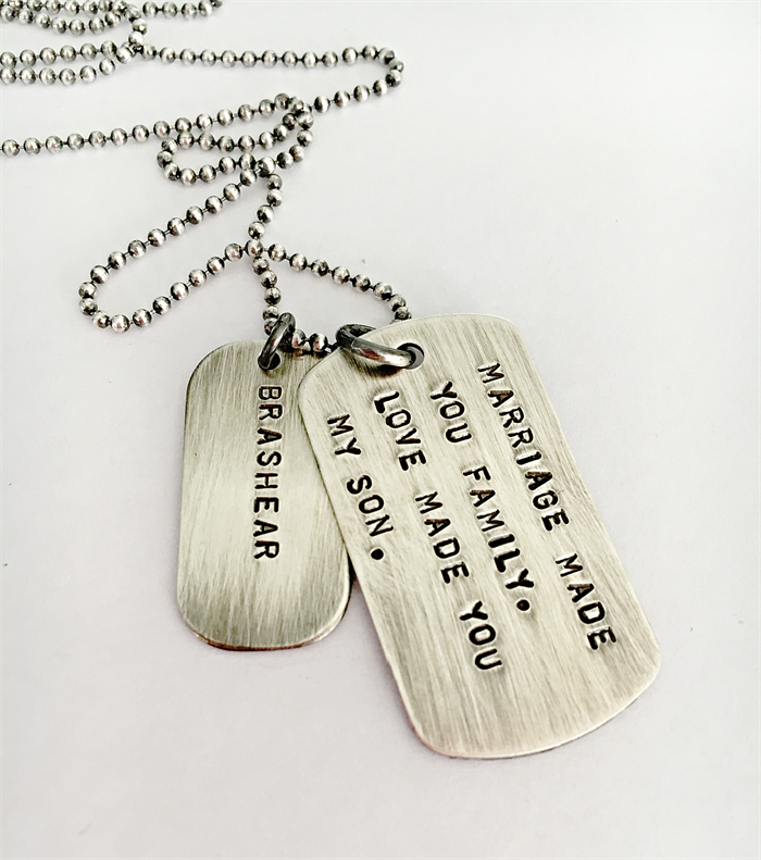 wedding day son in law gift marriage gift mens dog tag necklace
