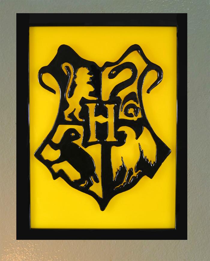 Harry Potter Hogwarts Crest 3D wax painting led light box | unique ...