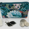 Coin Purse, Jewellery Accessory Pouch - Teal Floral Design with Ivory Tassel