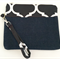 Denim and black and white wristlet with bird print lining