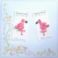 Flamingo ribbon hair clip