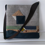 Contemporary Fabric & Navy Leather Tote